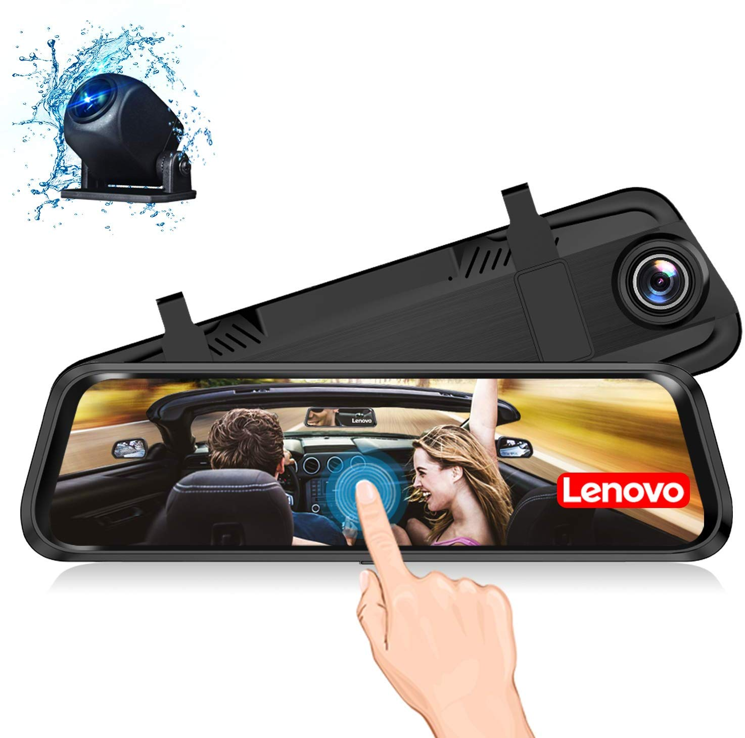 Lenovo HR06A Mirror Dash Cam and Rear Camera, 9.66 Inch Mirror Dash screen, 1080P Cam Touch Full Screen