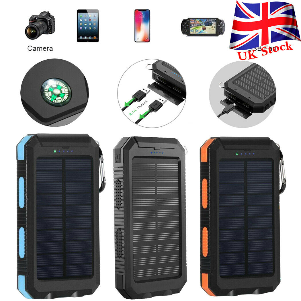 Waterproof 300000mAh Solar Power Bank 2 USB Battery.
